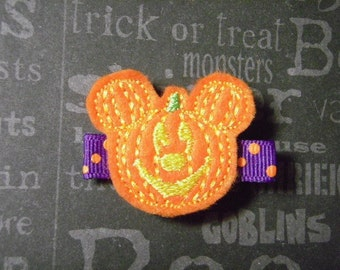 "Halloween ""Pumpkin Mickey II"" Felt Hair Clip - For Infant Toddler Girl"