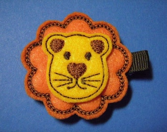 Lonnie The Lion Felt Hair Clip Clippie - For Infant Toddler Girl