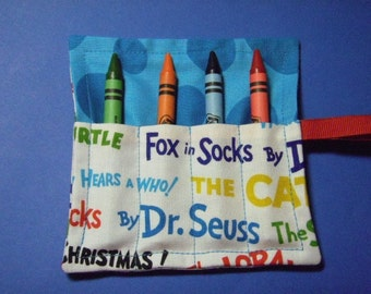 Mini Crayon Roll Up Keeper 4-Count Holder Party Favor - Dr. Seuss Books fabric