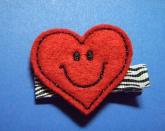 My Smiley Lil' Valentine Heart In Red Felt Hair Clip Clippie - For Infant Toddler Girl