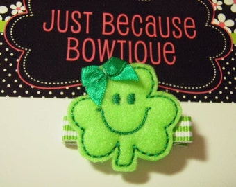"St. Patrick's Day ""Happy Shamrock"" Felt Clippie Hair Clip - For Infant Toddler Girl"