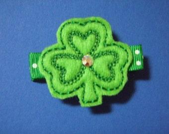 St. Patrick's Day Shamrock With Bling - Felt Hair Clip Clippie For Infant Toddler Girl