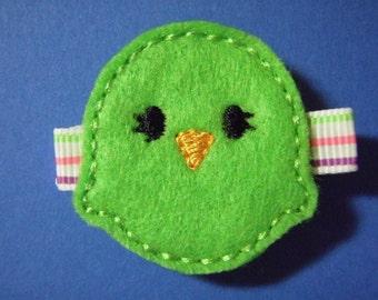 Easter Chick - Green - Felt Hair Clip Clippie - For Infant Toddler Girl