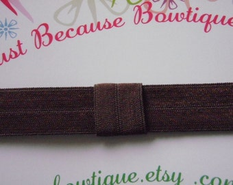 Elastic Headband in Chocolate Brown - Interchangeable Foldover Elastic - For Girls