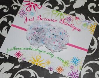 Skinny Pink Stretch Headband with Mini Polka dot Shabby Chiffon Flowers/Baby Shower Gift/Photography Prop