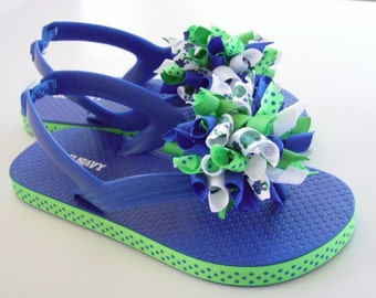 Frogs & Flowers Flip Flops - Korker Bows...Toddler Size 9 (3T)...Ready to Ship