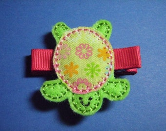 Turtle with Floral Shell Felt Hair Clip - Clippie - For Infant Toddler Girl