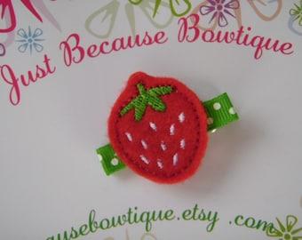 Strawberry Felt Hair Clip - Clippie - For Infant Toddler Girl