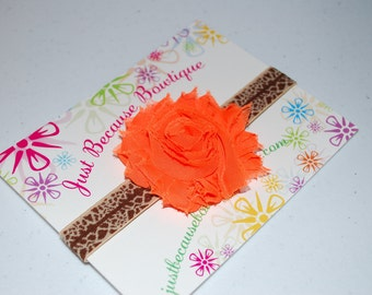 Giraffe Print Headband with Orange Shabby Flower/Baby Shower Gift/Photography Prop