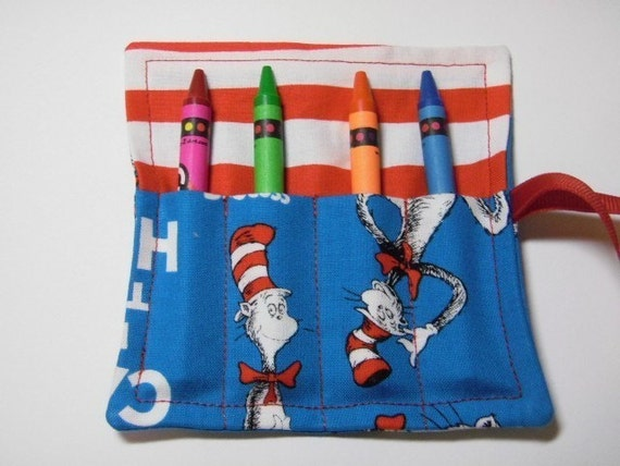 Mini Crayon Keeper 4-Count Roll Up Holder Party Favor - Cat In The Hat Fabric