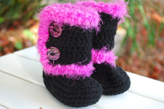 Black and Hot Pink Crochet Baby Ugg Style Fur Boots with Zebra Print Buttons/Baby Shower Gift/Choose Size