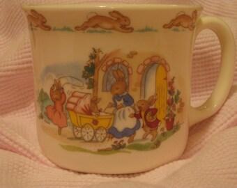 """Royal Doulton Bunnykins Cup """"Pushing Pram"""""""