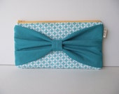 Teal Bow Clutch