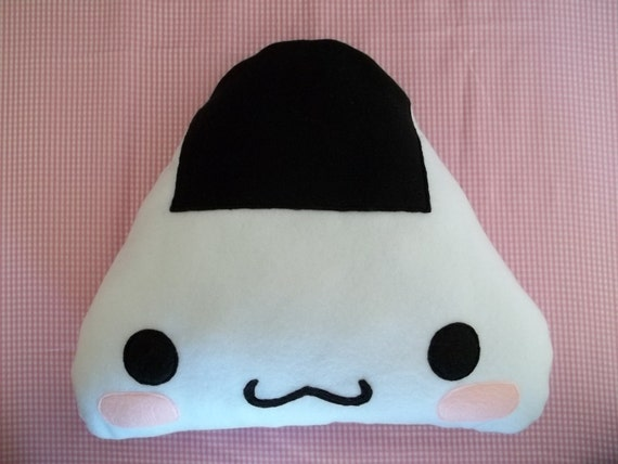 blushing onigiri pillow