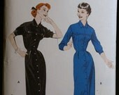 Vintage 50s Sewing Pattern Womens Shirt Inspired Coat Dress Butterick 7356 Sz 16