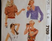 Sewing Pattern McCalls 7139 Misses Pullover Tops in 4 Styles Pattern Sz Med