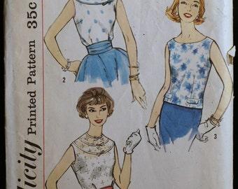 Vintage 50s Sewing Pattern Misses Blouse Pattern Simplicity 2510 Sz 14