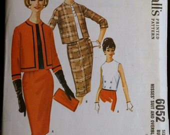 Vintage Sewing Pattern 60s Womens Suit and Overblouse Pattern Mad Men McCalls 6052 Sz 16