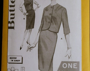 Vintage Sewing Pattern 1960s Butterick 2363 Misses Jacket and Skirt Pattern Sz 14