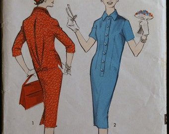 Vintage 50s Sewing Pattern Misses Dress with Back Pleat Detail Pattern Advance 8800 Sz 11