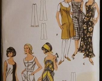 Vintage 60s Sewing Pattern Misses Mod One Piece Jumpsuit Butterick 3552 Sz 12