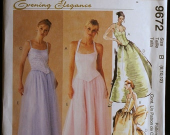 Sewing Pattern  Evening Gown or Prom Gown Pattern McCalls 9672 Size 8 to 12