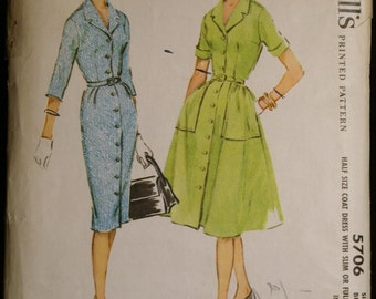 Vintage 60s Sewing Pattern Womens Coatdress with Slim or Flared Skirt Pattern McCalls 5706