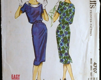 McCalls 4707 Misses Blouson Slim Dress Pattern 50s Vintage Sewing Pattern Sz 12
