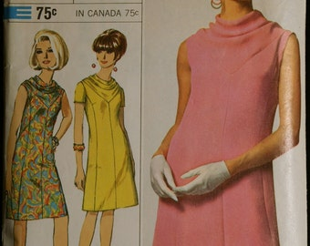 Vintage Sewing Pattern 60s Misses Dress with Cowl Neckline Pattern Simplicity 6908 Sz 12