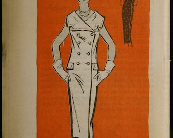 Vintage 60s Sewing Pattern Misses Double Breasted Dress Mail Order Printed Pattern 4733 Sz 12