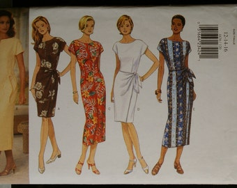 Butterick 4436 Misses Mock Wrap Dress or Sheath Sewing Pattern Sz 12 to 16