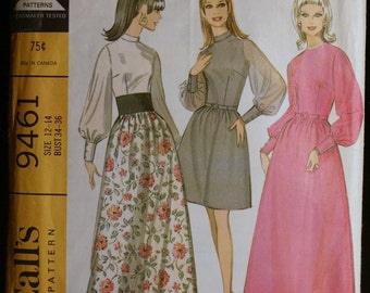 McCalls 9461 Misses Evening Gown or Special Occasion Dress Vintage 60s Sewing Pattern Sz 12 to 14