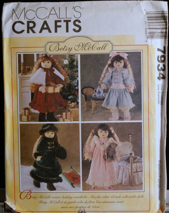 "McCalls Crafts 7934 Betsy McCall 18"" Doll Clothes Pattern Winter Holiday Wardrobe"