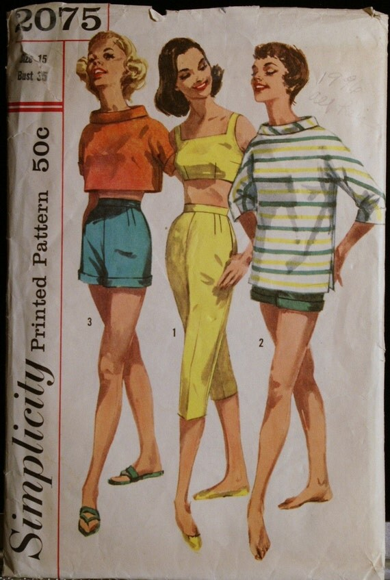 Vintage 60s Pants Pullover Shirt and Bra Pattern Simplicity