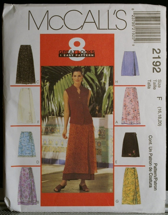 McCalls 2192 Misses Wrap Skirt in Eight Variations and Overskirt Sewing Pattern Size 16 to 20