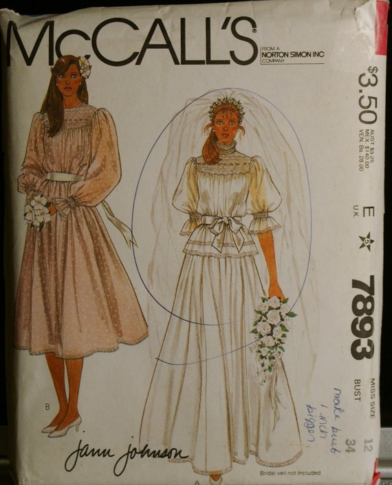 McCalls 7893 Wedding/Bridal Gown or Special Occasion Dress and Slip Vintage Sewing Pattern Sz 12