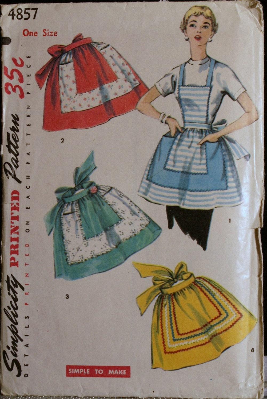 Vintage 50s Apron Pattern Simplicity 4857