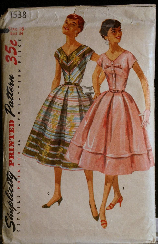vintage sewing pattern 50s misses dress simplicity 1538