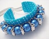 Blue Chunky Ribbon Cuff