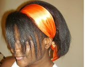 Solid Orange Satin Sash Hair Head Scarf Headband