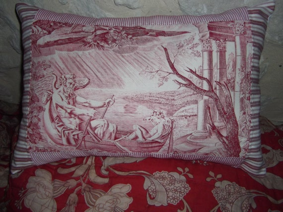 FRENCH FABRIC PILLOW  vintage  toile de jouy pillow french antique cushion cover
