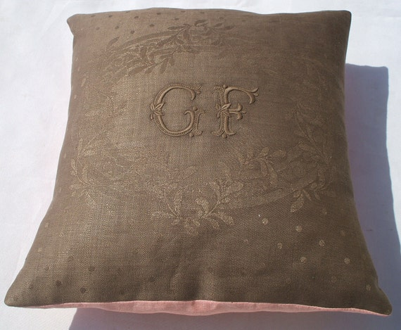 SALE  15 %  off marked price FRENCH LINEN silk damask accent pillow lavender pillow