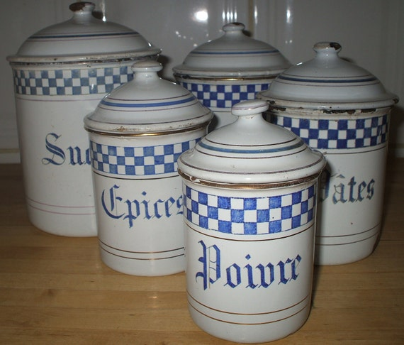 FRENCH ENAMELWARE GRANITEWARE Kitchen Canisters Vintage