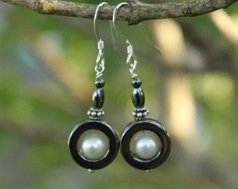 Dangle Earrings, Hematite & Fresh Water Pearls Sterling Silver Earrings, Gemstone Earrings