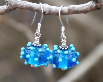 Lampworked Turquoise Glass and Sterling Silver Dangle Earrings