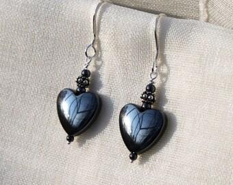 Heart Shaped Hematite & Sterling Silver Earrings, Gemstone Earrings, Handmade in Swden