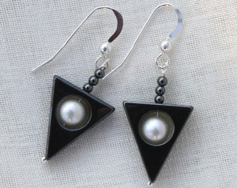 Triangle Hematite Dangle Earrings with Freshwater Pearls and Sterling Silver