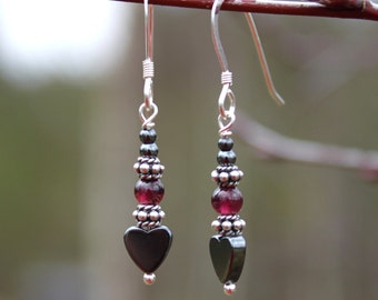 Dangle Earrings Tiny Hematite Heart & Garnets, Valentine, Sterling Silver, Gemstone Earrings, Heart Earrings, Hematite, Hearts