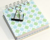 Hard Cover 4 inch Mini Notebook and matching binderclip - Blue and Green Argyle