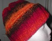 Beautiful Womens Hand Knit Hat in Mosaic Yarn